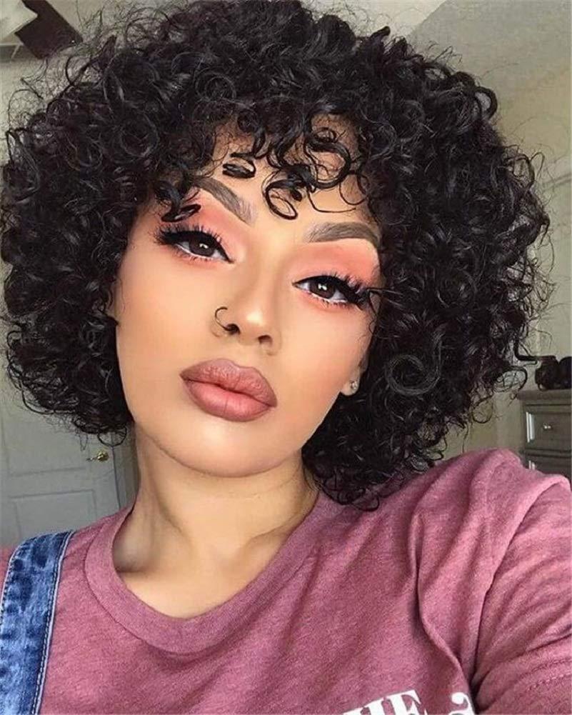 Amazon Com Short Curly Human Hair Wigs For Black Women Molefi Brazilian Virgin Hair Wigs With Bangs Natural Color 150 Density Regular Wig Machine Made Glueless Wig Beauty