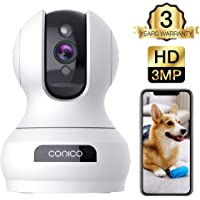 Conico Wireless Security Camera with Motion Sound Alerts Night Vision Cloud Storage Works with Alexa (White)