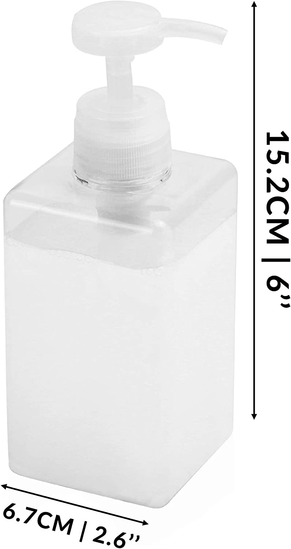 Ricarica sapone per mani chiare Dispenser quadrati Dispenser di shampoo e balsamo Flacone della pompa ricaricabile da 450 ml Dispenser di sapone Set di 2 Pukkr
