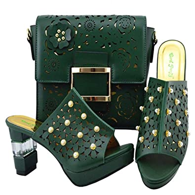 906550b12e356 Amazon.com | Black Color African Shoes and Matching Bags Italian Shoe and Bag  Set for Party | Sandals