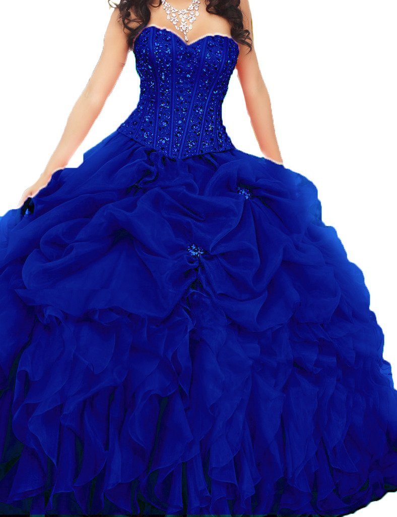 Royal Blue Puffy Ball Gown Prom Dresses: Amazon.com