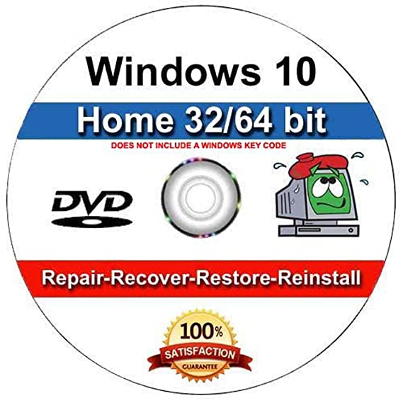 9th and Vine Compatible Windows 10 Home 32/64 Bit DVD  Install To Factory  Fresh, Recover, Repair and Restore Boot Disc  Fix PC, Laptop and Desktop