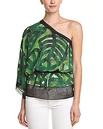 31c45e110c41c9 Amazon.com: ESCADA Naana Fantasy Print Silk One-Shoulder Top (36 ...