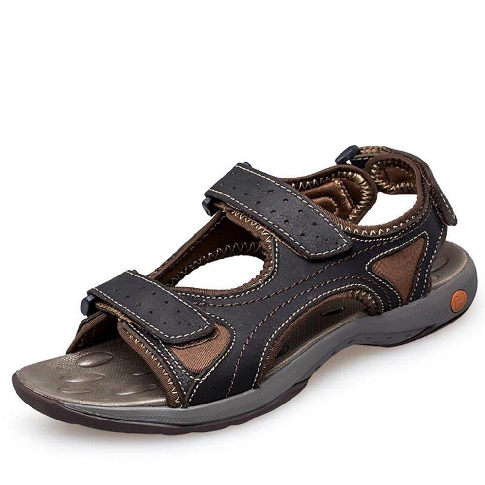 Herren Leder Sandaleen Sportlich und Outdoor-Schuhe - Sommer Casual Sandaleen - Bequeme Strandschuhe - Large 6-14
