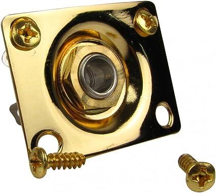 Chrome Black or Gold Rectangular JACK PLATE /& SOCKET for LP Tele Style Guitar