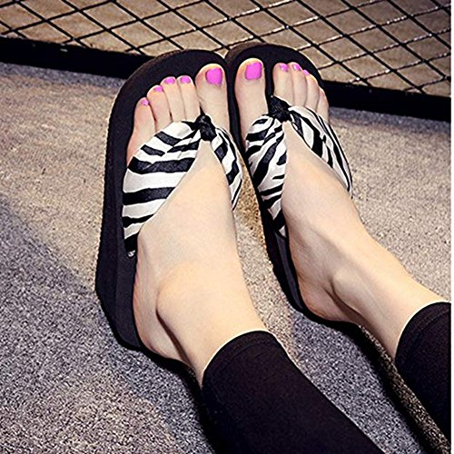 Bohemia Thongs White Slippers Flops High Bottom Summer Beach Wedge Sandals Thick Women's Heel Flip Platform Sandals RdqwxRCO