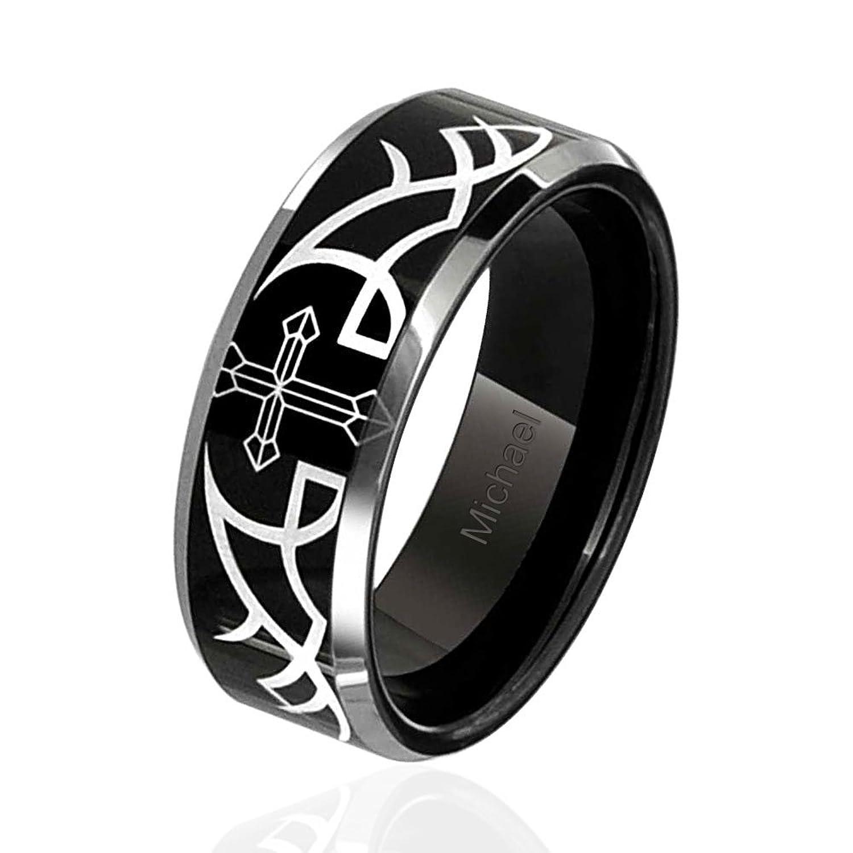 Amazon Mens Thorn Cross Ring Black Tungsten Wedding Band 8mm