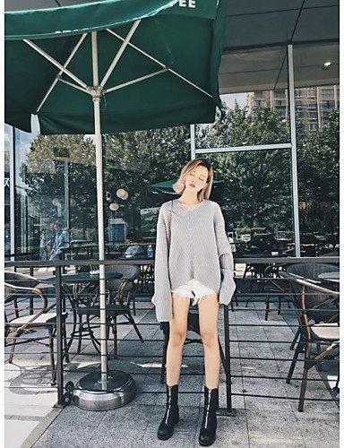 BaiChunYunYi Damen Standard Pullover-Ausgehen Lässig Alltäglich Einfach Solide V-Ausschnitt Langarm Wolle Baumwolle Polyester Frühling HerbstDünn