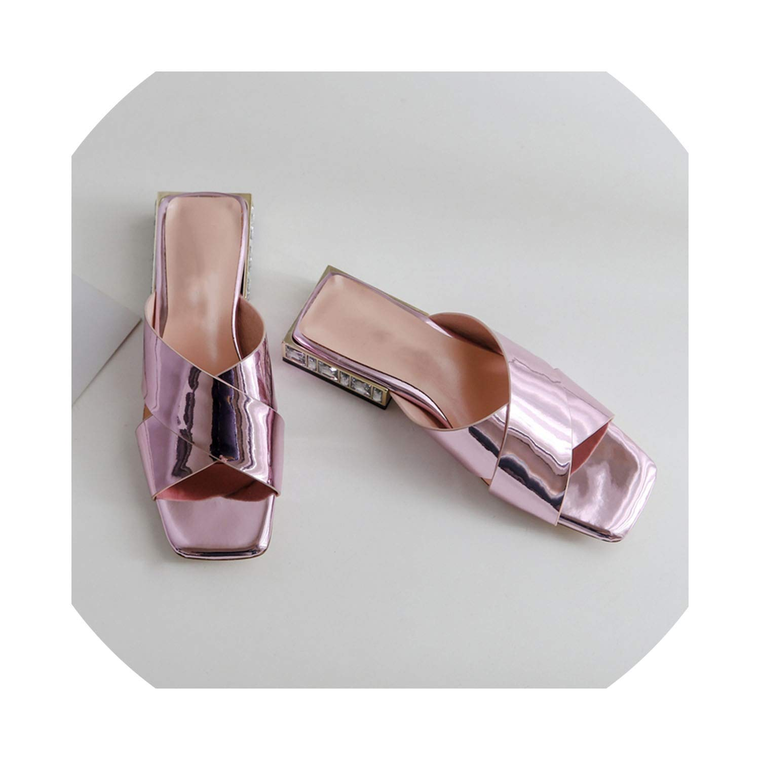 Pink goldsmyth Summer Woman Crystal Low Square Heels Slippers Genuine Leather shoes Woman Sandals Open Toe shoes