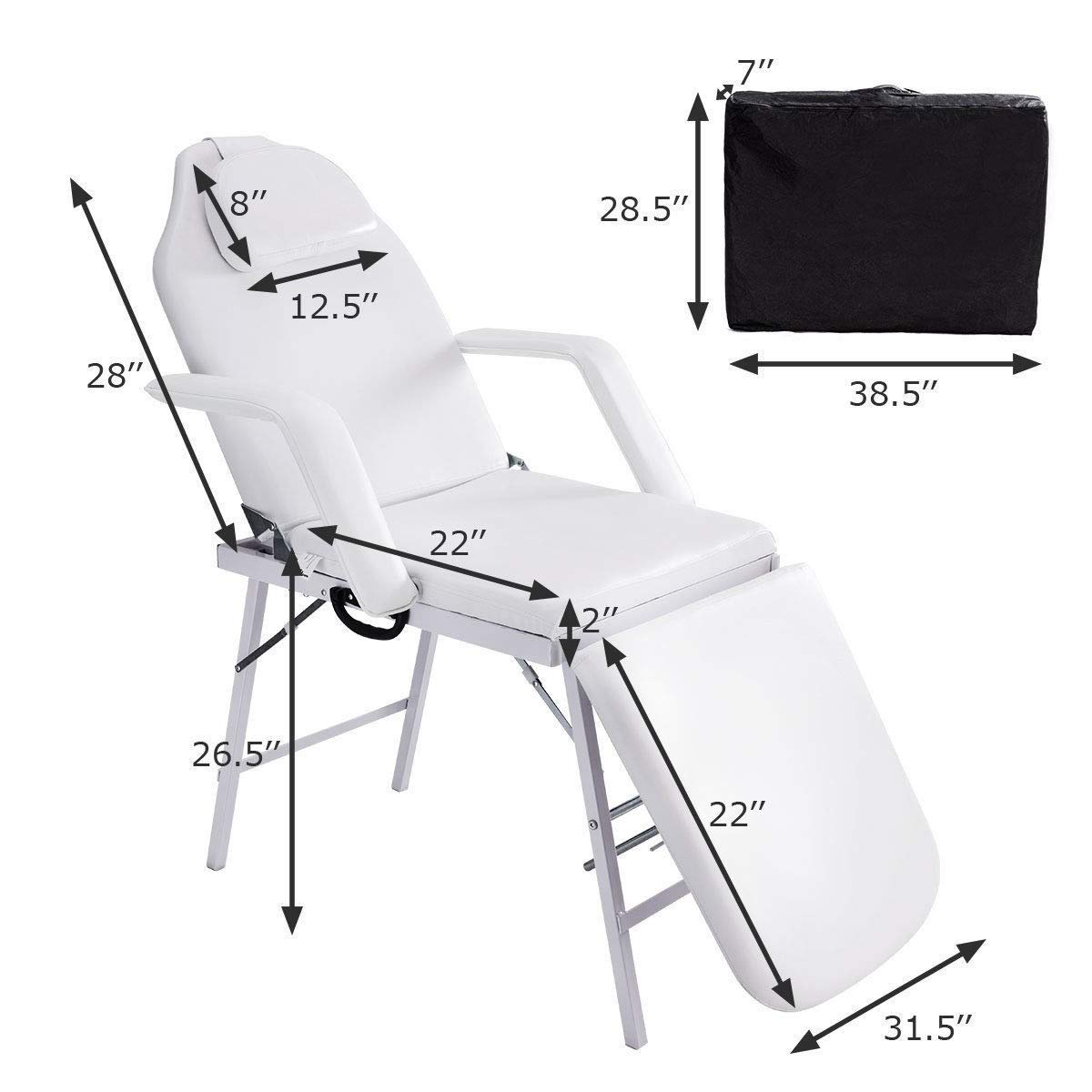 Adjustable Barber Spa Salon Massage Bed Facial Beauty Tattoo Chair White (73'') by Gentle Shower (Image #2)