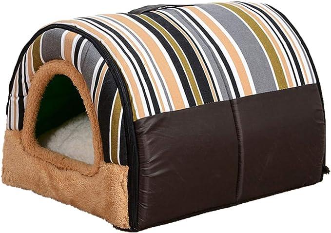 S-XXL Casa de perro para perros gatos portátil perro gato jaula perrera colores brillantes con estera cálida para perros cama lavable-marrón-iridiscente-XL