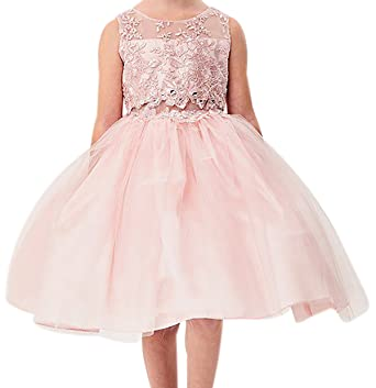 5a463a0d138 Little Girls Embroidered Rhinestone Ribbon Junior Bridesmaid Flower Girl  Dress Blush Size 2 (G3592G)