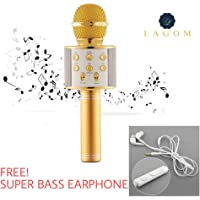 Lagom™ WS-858 Wireless Bluetooth Microphone Recording Condenser Handheld Microphone Stand with Bluetooth Speaker Audio Recording for All Android and iOS Devices {Random Colour}