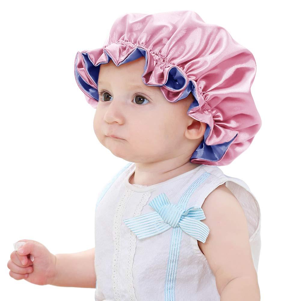 Sent Hair Kids Satin Bonnet Sleeping Cap Adjustable Sleep Bonnet with Drawstring Reversible Night Caps for Kids Child Baby Toddler Sleep Cap Double Layer Pink/Blue