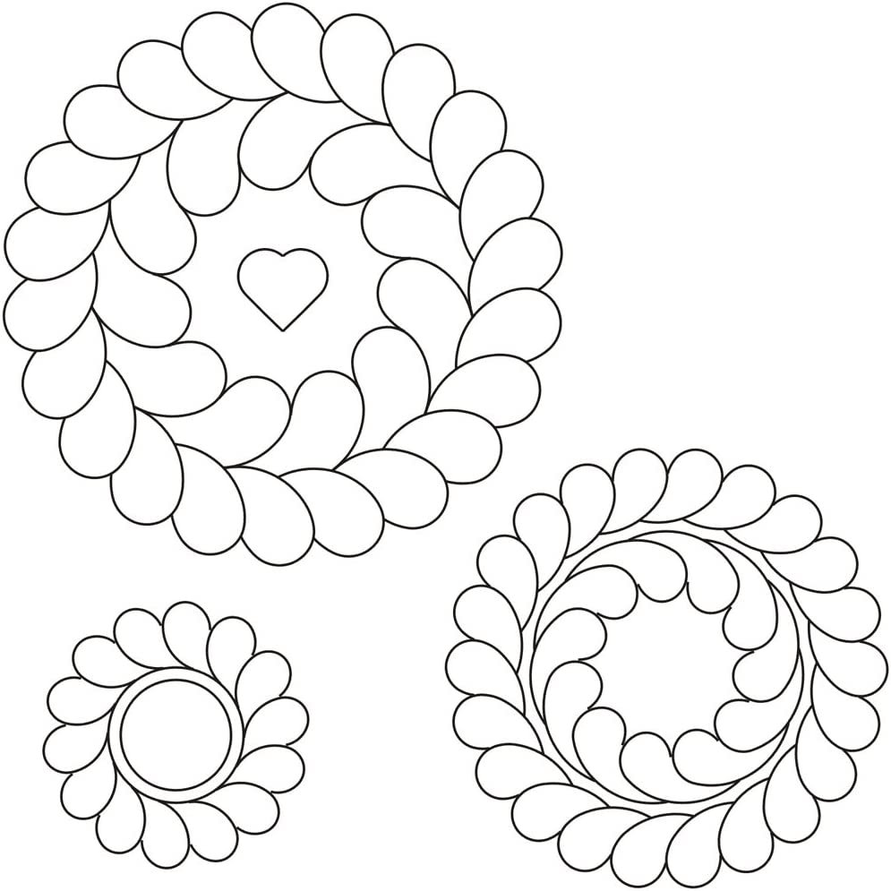 Template for quilting Feathers in a circle 6 inches