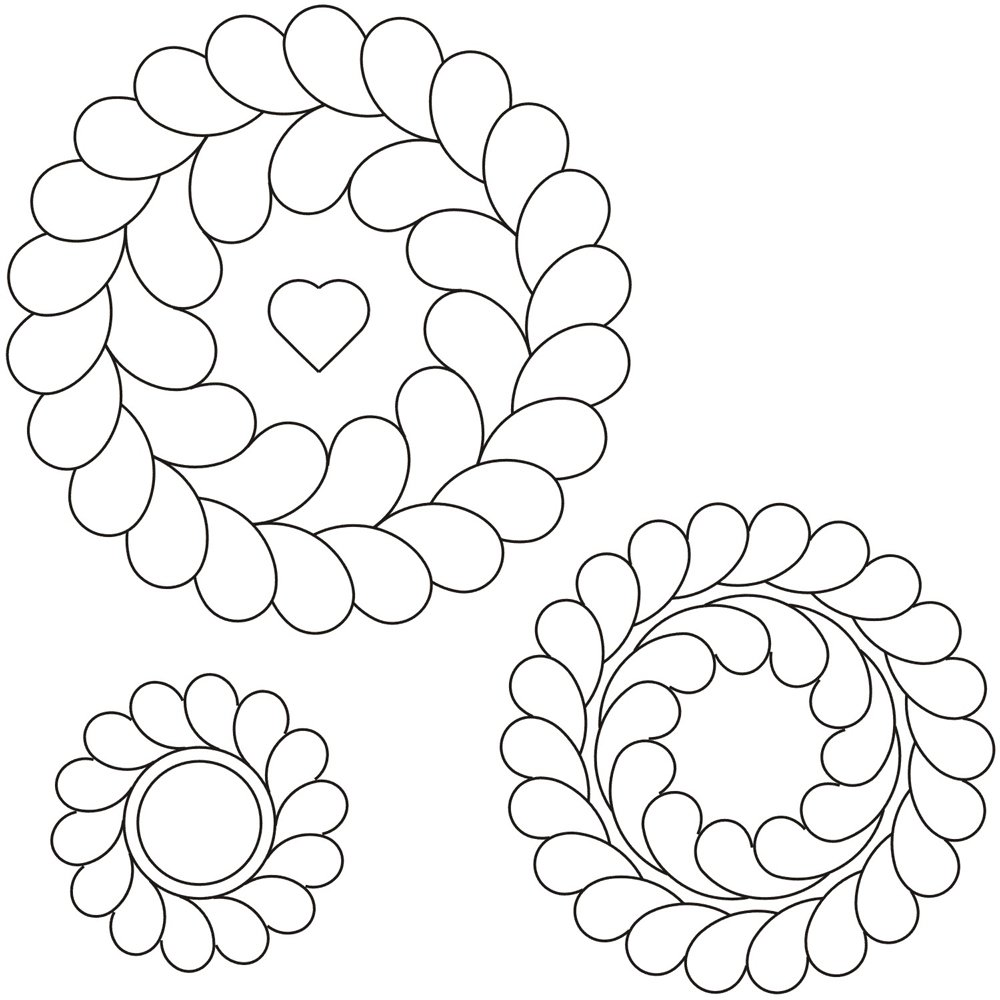 Quilting Creations Sp1003 Feather Circles Stencil Set 7 5 5 3 5