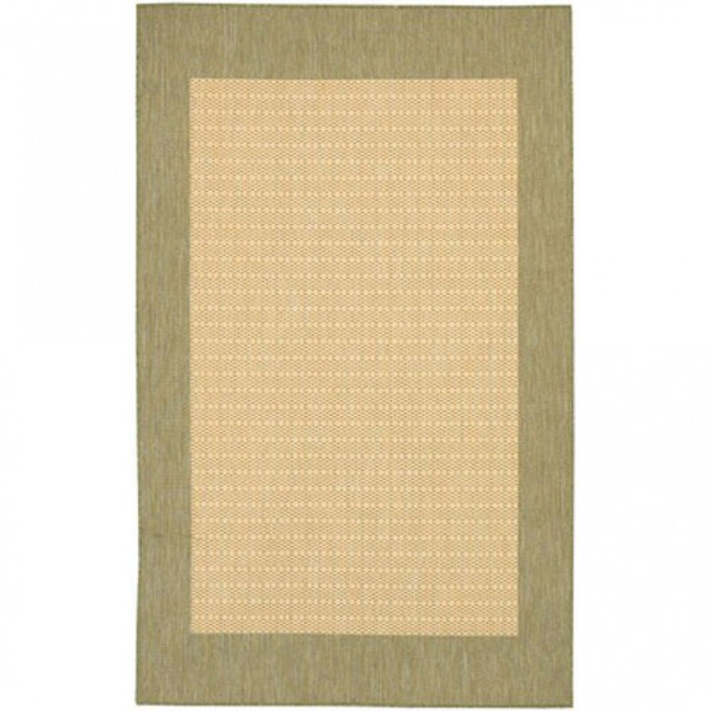 Couristan 1005/5005 Recife Checkered Field Natural/Green Rug, 2-Feet by 3-Feet 7-Inch Inc. - Drop Ship 10055005018037T