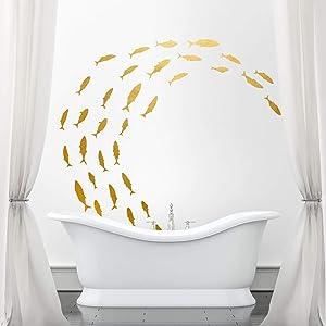 BIUBIUGO 48 Pcs Ocean Wall Decals,Bathroom Wall Decals Fish Wall Decals for Kids Bedroom Decor Nursery Wall Decals,Wall Sticker for Living Room Fish Decor (Matte Gold)