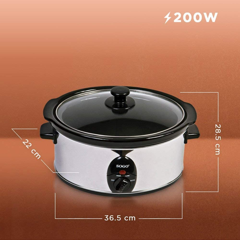Sogo ARR-SS-10055 Olla de Cocción Lenta, 200W, Gris y negro ...