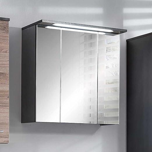 Pharao24 Badezimmer Spiegelschrank in Anthrazit LED Beleuchtung ...