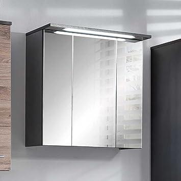 Spiegelschrank Bad Mit Beleuchtung | Pharao24 Badezimmer Spiegelschrank In Anthrazit Led Beleuchtung