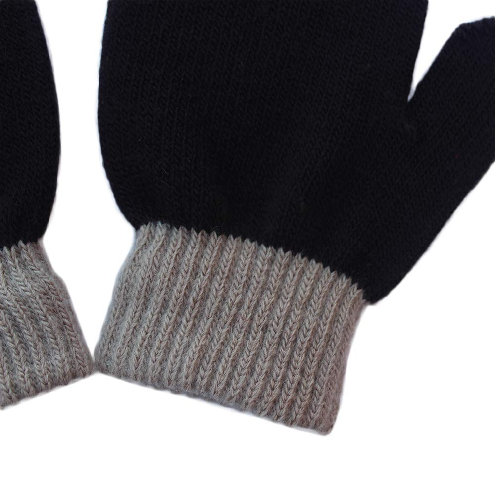 Kids Boys Girls Winter Warm Magic Gloves Colorful Stretchy Knit Glovers Black-green