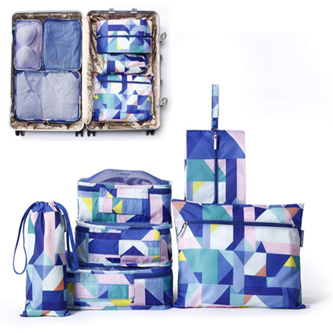 fcca7a52fef3 P travel .6 pcs packaging cube, portable travel packaging for luggage (blue  color)