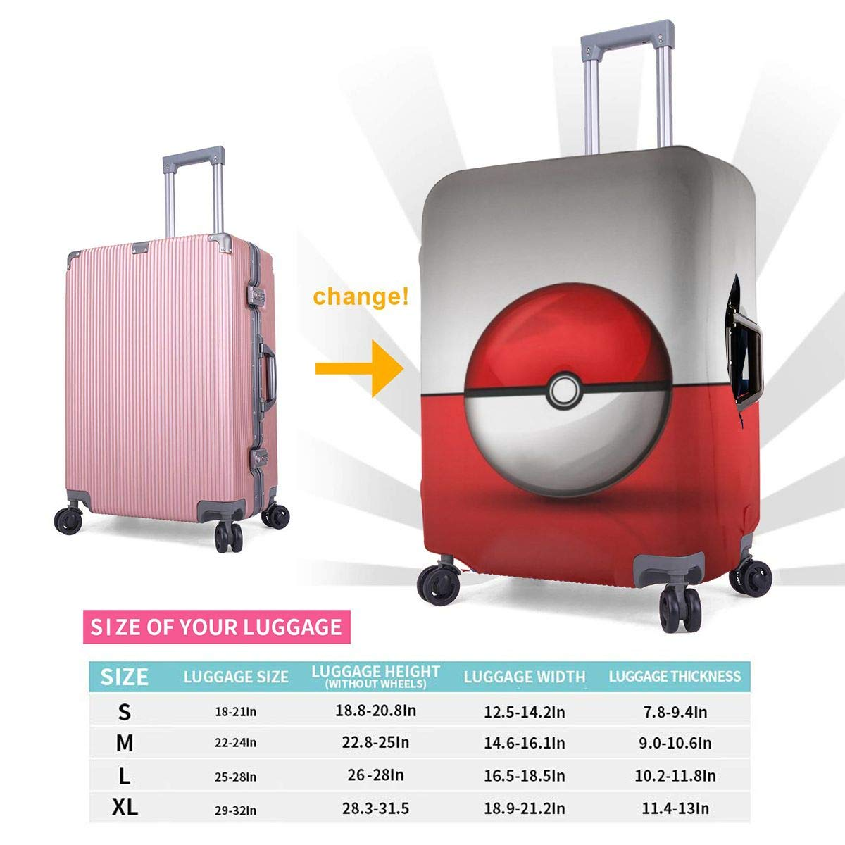 Travel Luggage Cover Pokeball Pikachu Cartoon Travel Luggage Cover Suitcase Protector Fits 26-28 Inch Washable Baggage Covers