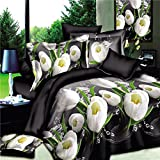 wiwanshop 4pcs Suit Polyester Fiber 3D White Tulip Flower Reactive Dyeing Bedding Sets Que