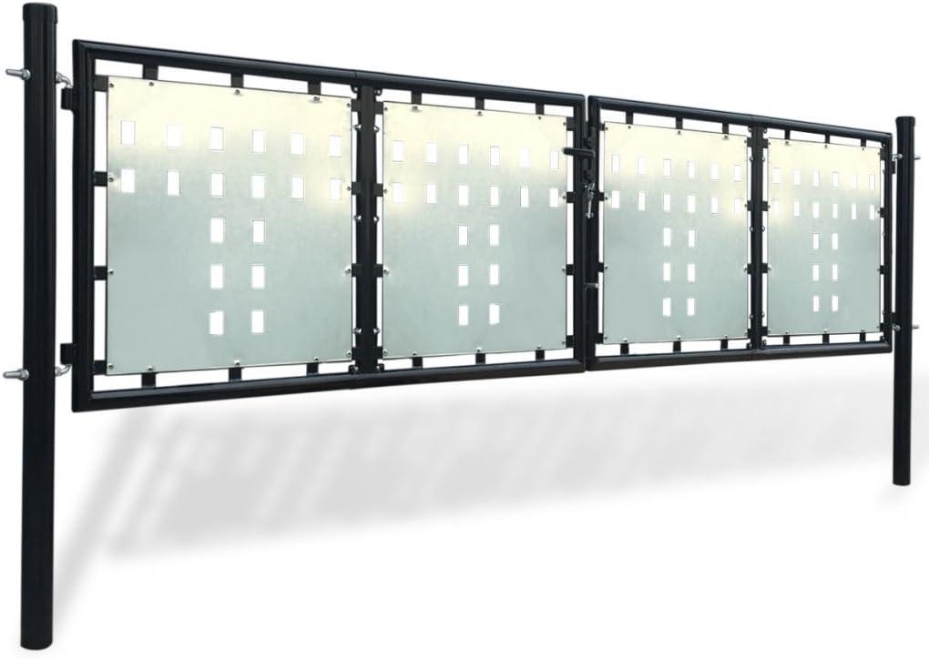 Festnight Verjas abatibles Puerta de Jardín de Hierro 300 x 150 cm, Color Negro