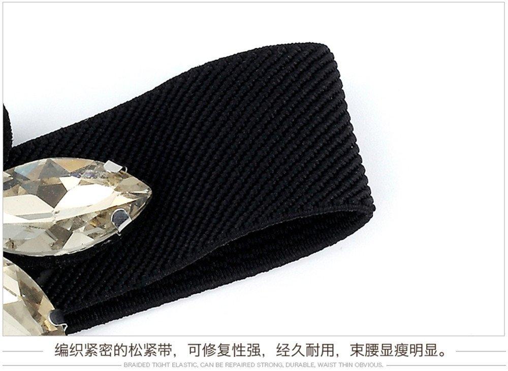 LONFENN Vestido Strass Adorno Femenino cinturón elástico Ancho Cintura  elástica Mosaico de Cristal Simple Todo Coincide con la Sra. 7fc84a6618f3