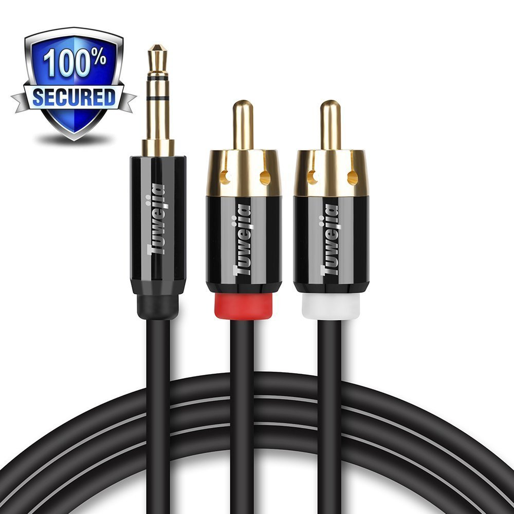 RCA Audio Cable Tuwejia Super HD 3.5mm AUX to 2RCA 20FT Y Splitter Stereo Audio Cable Male Type OFC Conductor Dual Shielding Gold Plated High-End Metal Shell by Tuwejia