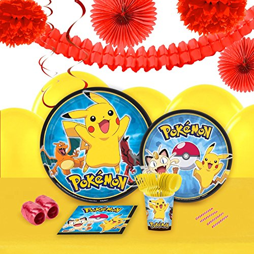 Pokemon Party Supplies - Tableware and Decoration Party Pack for 16 Guests - Party City Ash Costume