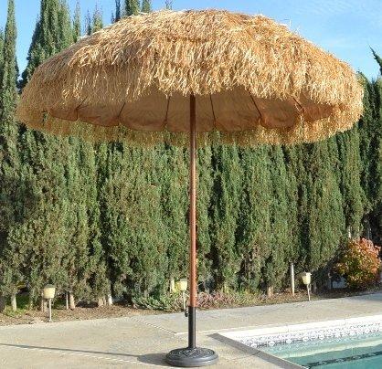 Bayside21  8' Hula Thatched Tiki Umbrella Natural Color (Bayside21 8 Hula Thatched Tiki Umbrella Natural Color)
