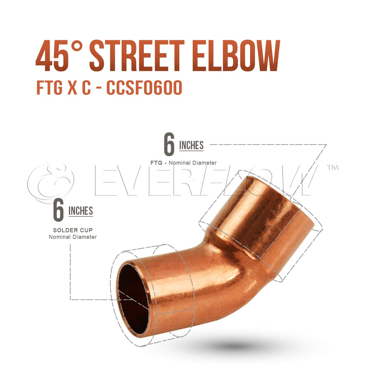 Everflow Supplies CCSF0300 3 Nominal Size 45 Degree Street Elbow with Male Sweat Connect and Female Sweat Socket