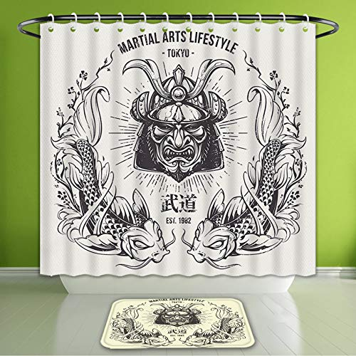 Waterproof Shower Curtain and Bath Rug Set Asian Traditional Japanese Samurai Mask Koi Fish Martial Arts Lifestyle Tokyo Typography Coconu Bath Curtain and Doormat Suit for Bathroom 60