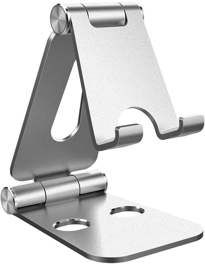 Simpeak Soporte Móvil, Soporte Tablet, Multi-Angulo Soporte de Aluminio Compatible con iPad,Compatible con iPhone, Compatible con Nintendo Switch, Otras Tabletas y Móviles, Plata