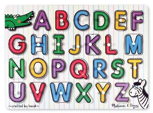 - Melissa & Doug See-Inside Alphabet Peg Puzzle & 1 Scratch Art Mini-Pad Bundle (03272)