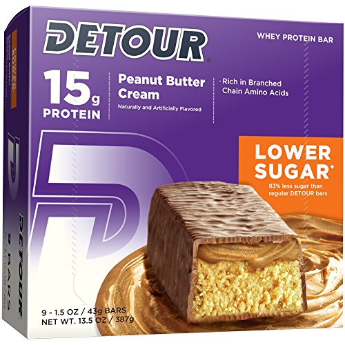 Detour Lower Sugar Whey Protein Bar, Peanut Butter Cream, 1.5 Ounce (Pack of 9) For Sale