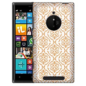 Nokia Lumia 830 Case, Slim Fit Snap On Cover by Trek Victorian Ornate Peach on White Case