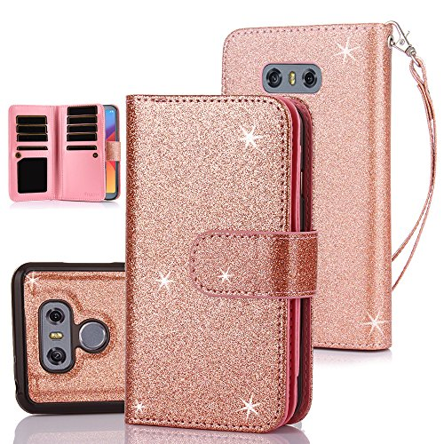 TabPow LG G6, LG G6 Plus Case, 10 Card Slot - ID Slot, Button Wallet Folio PU Leather Case Cover With Detachable Magnetic Hard Case For LG G6 (2017)/LG G6 Plus - Glitter Rose Gold