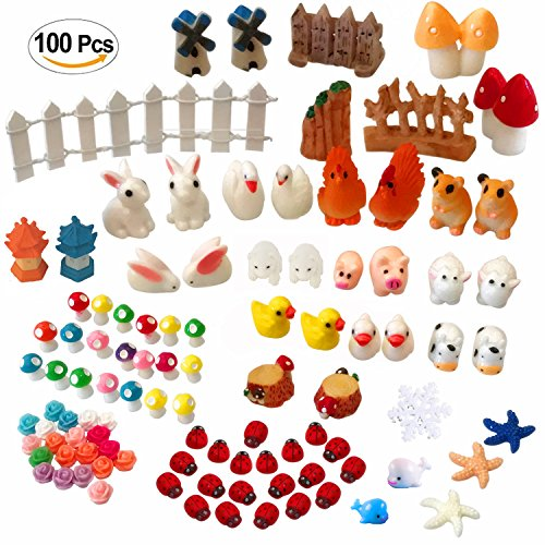 Atecy 100 Pcs Miniature Garden Ornaments Kit, DIY Fairy Garden Dollhouse Decor Miniature Chicken