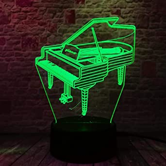 BYSQX 3D Led Night Light Ilusión Óptica Lámpara-Piano 16 Colores ...