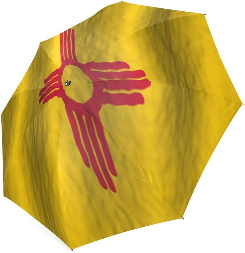 Valentines Day Gifts Presents Retro Style New Mexico State Flag Compact Foldable Rainproof Windproof Travel Umbrella