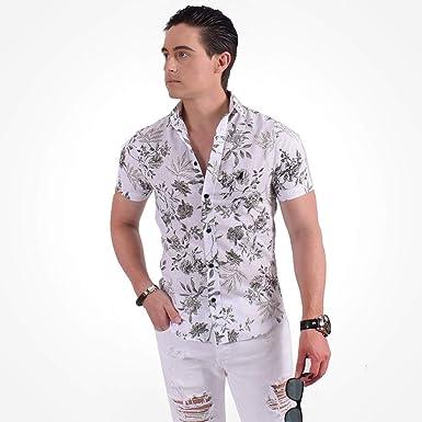 Camisa Social Manga Curta Masculina Slim Floral Verde 500207   Amazon.com.br  Amazon Moda f52f8a4966dee