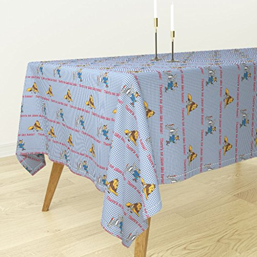 Roostery Tablecloth - Dorothy Gingham Lion Scarecrow Tinman Check Checkerboard by Peacoquettedesigns - Cotton Sateen Tablecloth 70 x 90