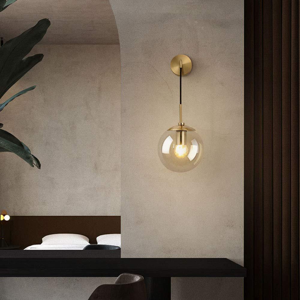 HJXDtech Industrial Vintage Loft Bar 20cm Globe Drop Wall Lighting Fixture Bedroom Corridor Sconce Light Retro Grey Glass Sphere Wall Lamp Black Metal