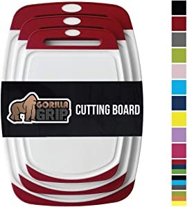 Gorilla Grip Original Reversible Cutting Board, 3 Piece, BPA Free, Dishwasher Safe, Juice Grooves, Larger Thicker Boards, Easy Grip Handle, Non Porous, Extra Large, Kitchen, Set of 3, Red