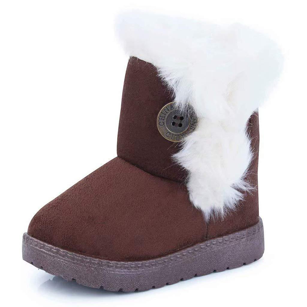Gaatpot Fille Garçon Chaussures Bottes d'hiver Bébé Enfant Bottines Mode de Neige avec Doublure Chaud Fourrure