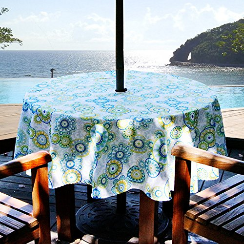 ColorBird Medallion Flower Outdoor Tablecloth Water Resistant White/Light Green Polyester Fabric Table Cover with Zipper Umbrella Hole for Patio Garden Tabletop Decor, 60